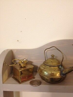 antique miniature tea kettle and coffee grinder