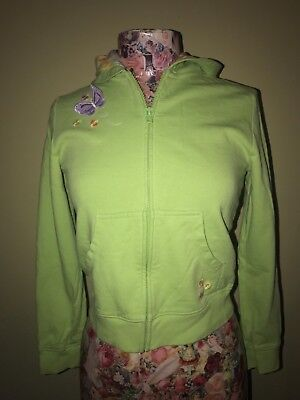 Gymboree Zipper Jacket with Butterfly Floral Lined Hood Size L 10-12
