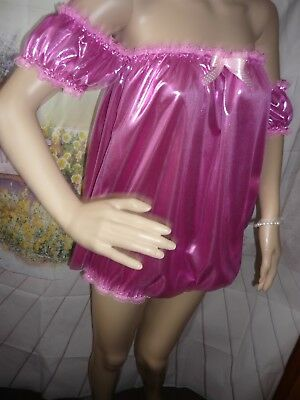 Shimmering high shine HOT Pink Satin SISSY XXL All In One BABY DOLL BODY ROMPER