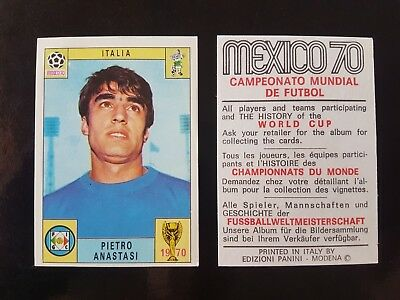 Original Genuine Panini Mexico 70 ANASTASI Figurine Card 1970 UNUSED Red Black