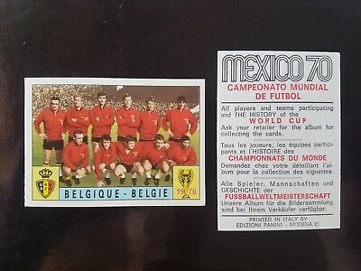 Original Genuine Panini Mexico 70 BELGIUM Figurine Card 1970 UNUSED Red Black