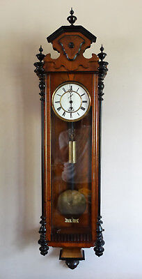 Antique Victorian Weight Driven Wall Clock Vienna Regulator by H Endler c1880