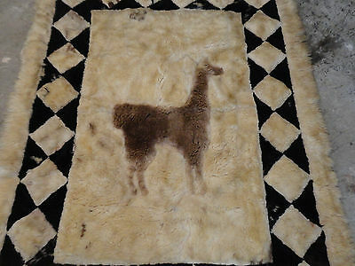 "Vintage Hand Made Alpaca Llama Rug Wall Hanging  65"" x 50"" Repair"