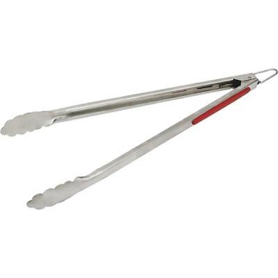 12 Pk GrillPro 15 In. Heavy-Duty Rubber Handle Stainless Steel Barbeque Tongs