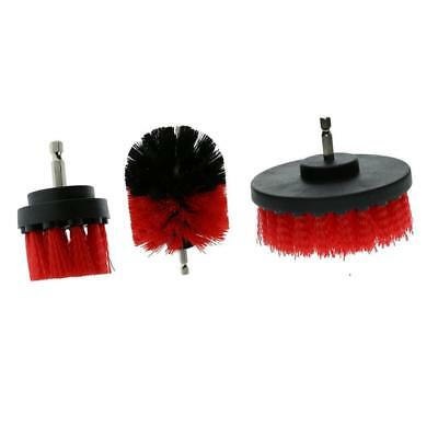 (3-Pack) Drill Brush Combo (2,3.5,4 inch) Car Care Wall Tile Clean Red