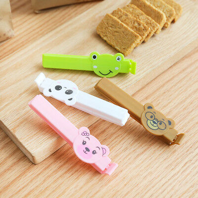 4PCS Food Bag Clips Cartoon Animals Reusable Sealing Clamps Kitchen Storage Tool