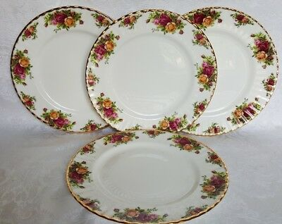 "4 Royal Albert OLD COUNTRY ROSES 10,5"" DINNER  PLATES England Mint & VINTAGE"
