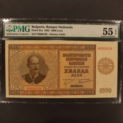Bulgaria 1000 Leva 1942 P#61a Banknote PMG 55 EPQ - About Uncirculated