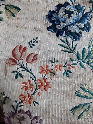 Antique fragment 18th century brocaded lampas silk from France