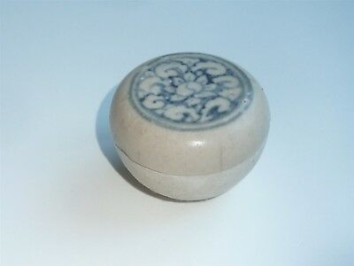 BEAUTIFUL 5.5cm DIAMETER HOI AN SHIPWRECK BOX WITH FLOWER MOTIFF DESIGN TO LID
