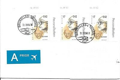 India Indien Gandhi Belgium 3X on Cover to Germany