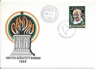 India Indien Gandhi Hungery 1969 Stamp on FDC