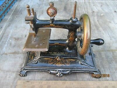 Antique Sewing Machine - Germany -  Hand Crank - Floral Decoration