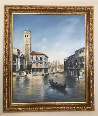 Original large IMPRESSIONIST oil painting on canvas view of VENICE