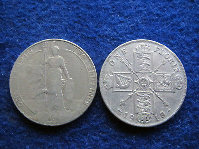 1908 & 1918 Great Britain Silver Florins/Two Shillings  - Free U S Shipping