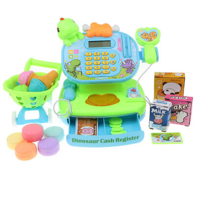 Supermarket Cash Register Pretend Toy Play Food Cake Money Shopping Cart Set