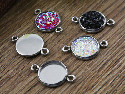 Stainless Steel Cabochon Connector Bases | Fit 12mm Cabochons
