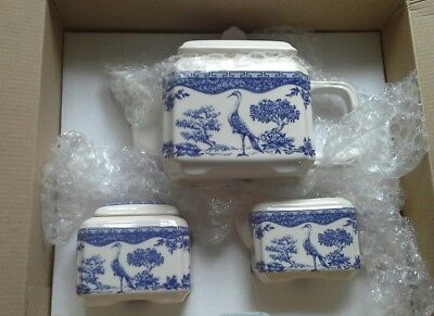 Superb WADE TEA SET For One Blue & White NEW in box