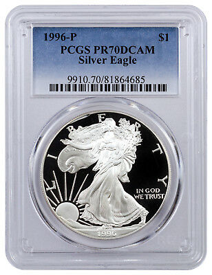 1996-P PCGS PR70 Proof American Silver Eagle Silver One Dollar Coin