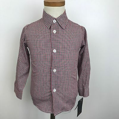 NEW Boy's Dockers Red, Black, White Plaid Button Down Shirt 24 Months -125M