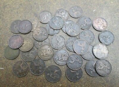 Lot of 34 Great Britain Queen Victoria 1 Farthing Coins Mixed Dates & Condition