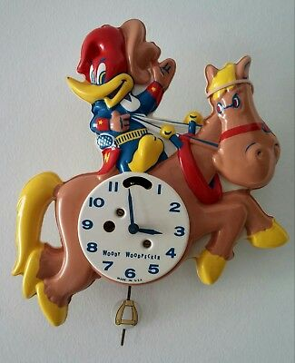 Vintage Woody Woodpecker Pendulum Action Wall Clock #535 Working with Key