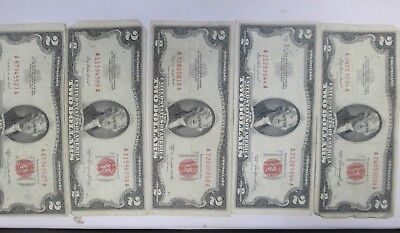 Five Us $2 United States Red Notes