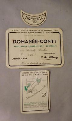 Wine Label Complete Set 1956 Romanee-Conti Monopole   FREE Ship
