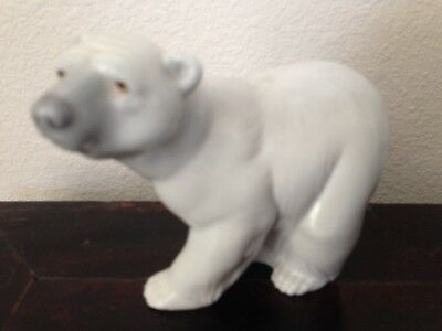 Vtg 1970's Lladro Spain Porcelain Hand Made Attentive White Polar Bear #1207