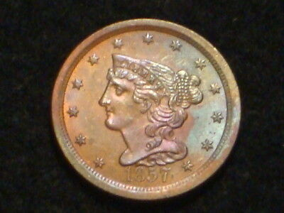 "1857 Braided Hair Half Cent Bu-Unc. ""rare""  Only 35,180 Minted!"