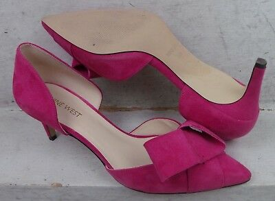 3ca104fe13a6 Nine West Womens Shamrock Fuchsia Suede Leather Pumps Heels Shoes size 8 M