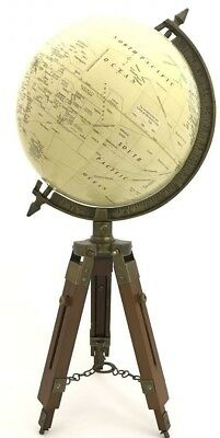 Vintage / Antique Style World Map GLOBE ORNAMENT On Wooden and Brass Tripod