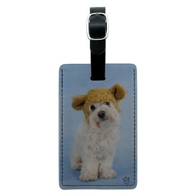 Bichon Maltese Puppy Dog Wearing Bear Hat Rectangle Leather Luggage Card ID Tag