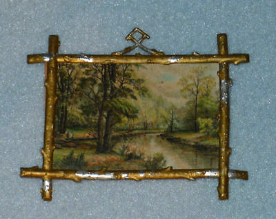 Antique German Doll House Miniature OIL ON CANVAS, Wall Painting Decor, Vintage