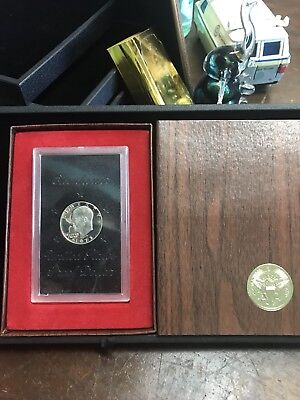 """1973-S Silver Proof Brown """"Ike"""" Eisenhower Dollar $1 US Mint Box Coin (2)"""