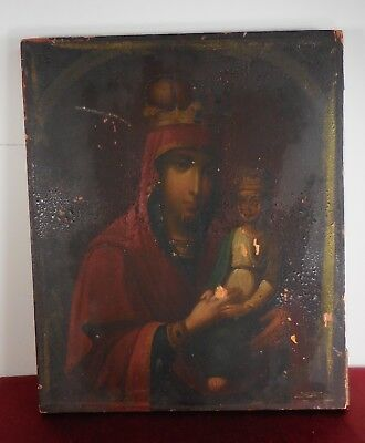 ANTIQUE  Original ICON Madonna and Child Mother Of God Vintage OIL on WOOD