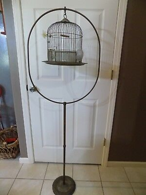 Vintage Brass and Steel Oval Floor Standing Bird Cage circa 1930-1940 (r-14)