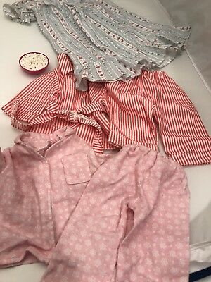 """18"""" Doll Clothes. Flannel Nightie, 2sets Of Pjs, American Girl Bowl Popcorn EUC"""