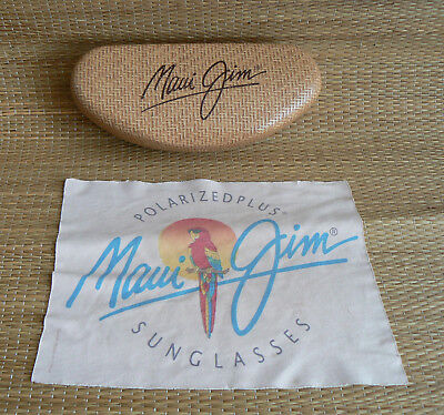MAUI JIM * BASKET PRINT WEAVE * CLAM SHELL Sunglasses HARD CASE & CLOTH