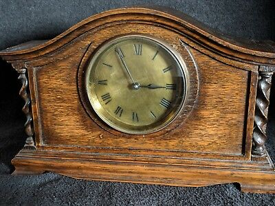 Antique French  dark Oak Cased Mantel Clock, Good Working  bearly twisted side
