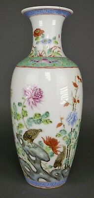 Fine Antique Chinese Famille Rose Republic Porcelain Birds & Flowers Vase
