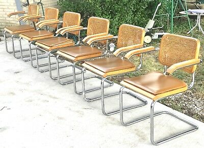 6 Genuine Marcel Breuer Cesca Thonet Cane Back Dining Chairs Mid Century