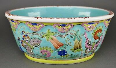 Fine Antique Chinese Famille Verte Porcelain Butterfly Ruyi Edge Bowl