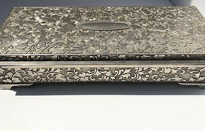 International Silver Co. Sterling Plated Jewelry Box Vintage Dresser Box Antique