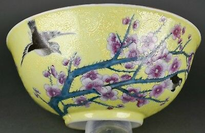 Fine Antique Chinese Famille Jaune Guangxu Porcelain Cherry Blossom & Poem Bowl