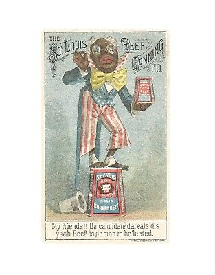 Victorian Trade Card Black Americana  St Louis Beef Canning Co Red White & Blue