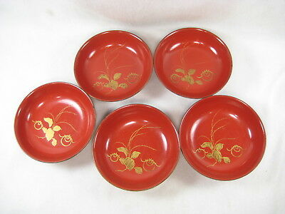 Japanese Antique (C.1890) Set Of 5 Hand Carved Red Lacquer Kashizara Bowls