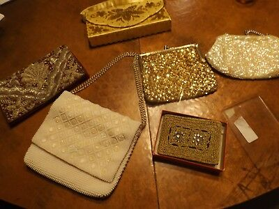Vintage Lot of 6Coin & Clutch & Handle Purses: Beaded & Sequined