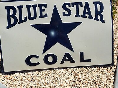 Vintage Blue Star Coal Tin Sign Blue Star Coal Embossed Tin Sign Gray Back