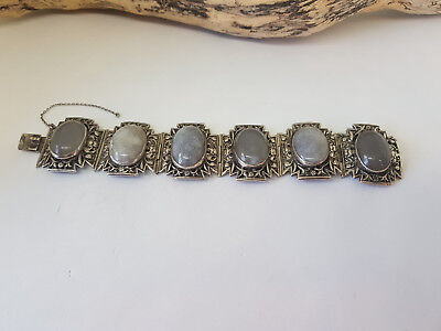 Rare Antique Chinese Export White Stone Bracelets 56.8 G.
